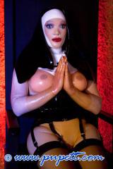 NEON ART girl OLGA and cracy latex nun praying