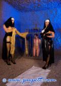 Neon girl Olga and nuns