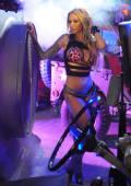 Neon girl Caprice in tiger bikini