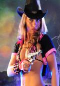 Pink Cowgirl with gun studioset