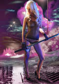 Neon girl posing with samurai sword